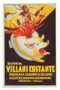 Pubblicità della ditta Villani Costante, stampata negli anni Trenta. L'8 settembre 1943 la Castelnuovo non viveva però nell'abbondanza...