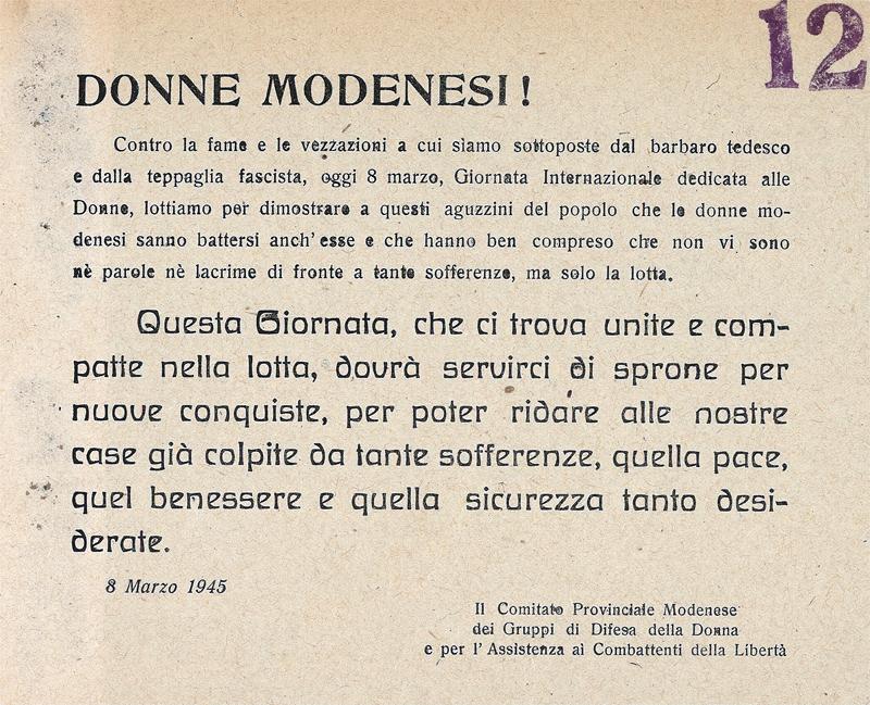 25 aprile a Modena: volantino GDD 8 marzo 1945