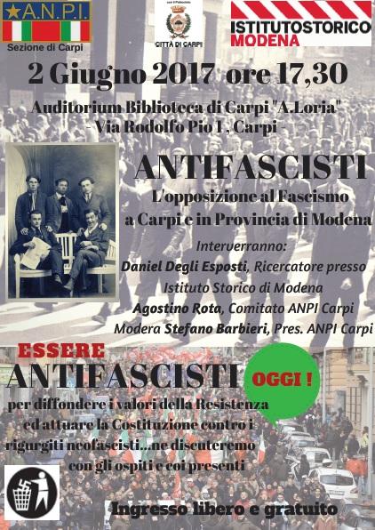 Antifascista: la locandina dell'evento del 2 giugno a Carpi