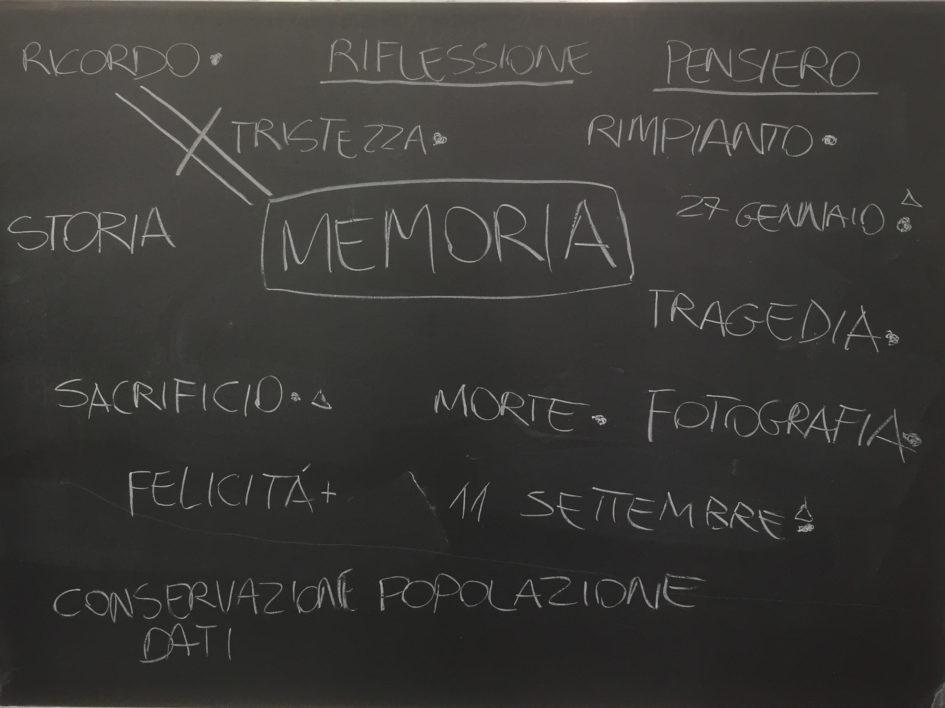Progetto Dalla Resistenza alla Costituzione. Il brain storming degli studenti sul concetto di memoria.