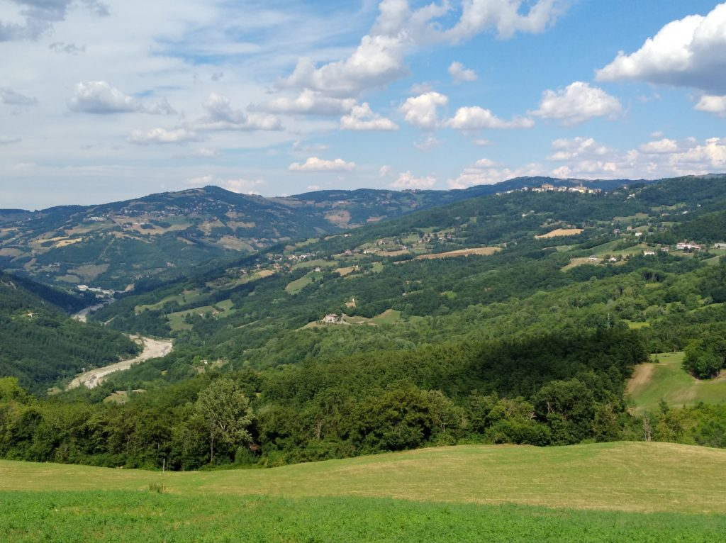 La foto dall'alto mostra l'alveo del Dolo a valle della Centrale idroelettrica di Farneta.