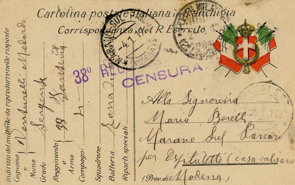 La Grande Guerra nella valle del Panaro. Cartolina inviata da Medardo Venturelli ad Albina Maria Borelli