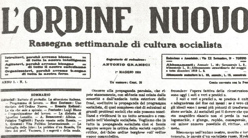 Il 1° maggio 1919 uscì il primo numero del settimanale socialista L'Ordine Nuovo, che Antonio Gramsci firmò come segretario di redazione.