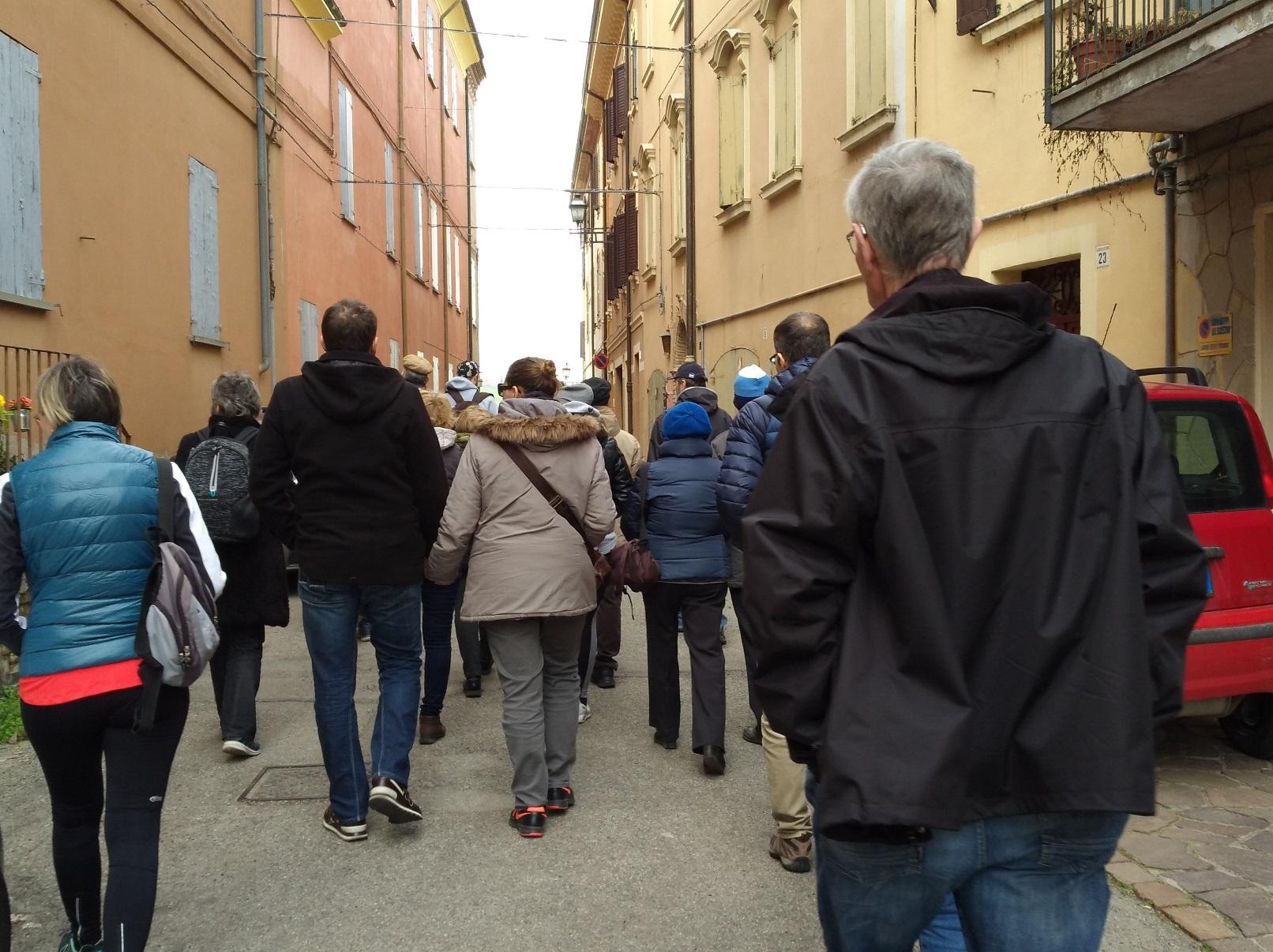storie di profughi a Castelvetro: un momento del trekking