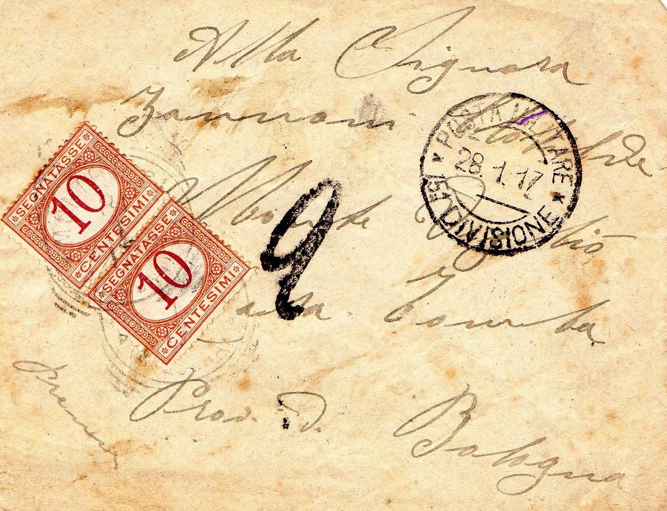 Grande Guerra a Valsamoggia: Busta di una lettera inviata da Primo Ognibene alla moglie il 28 gennaio 1917. Raccolta Claudio Cavallieri