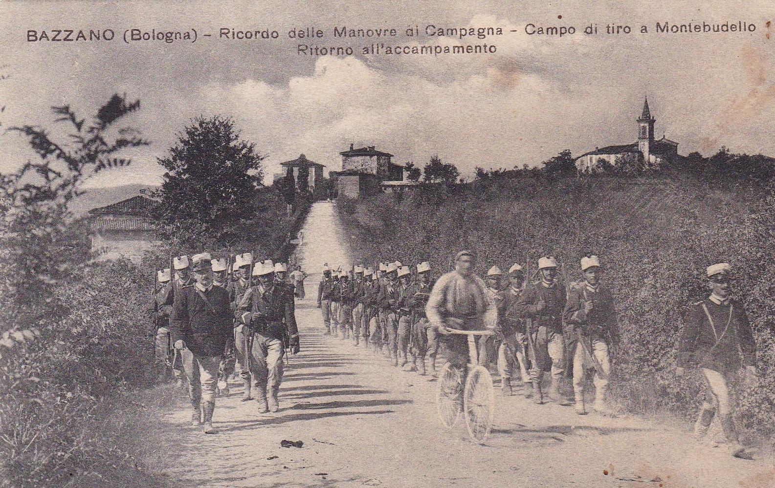 Grande Guerra a Valsamoggia: Cartolina che mostra un momento delle esercitazioni militari nella zona di Bazzano. Foto famiglia Contri