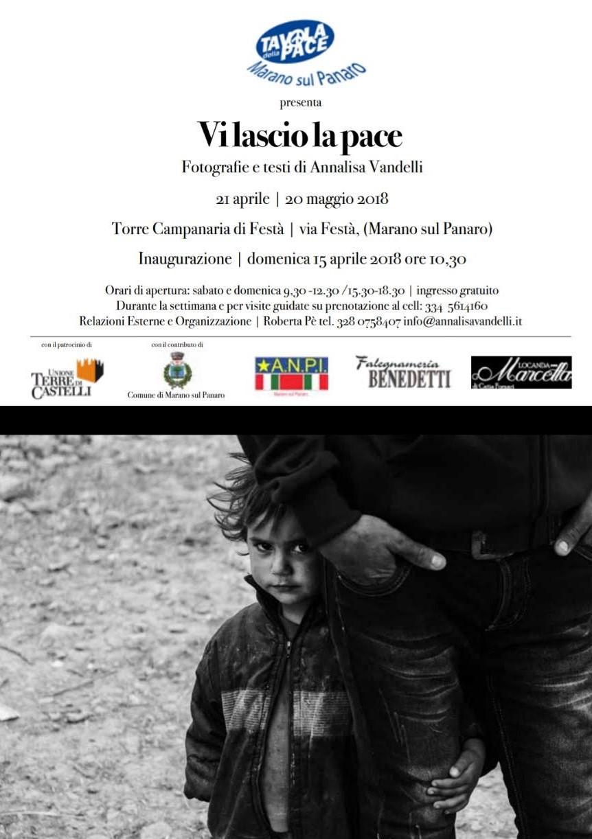 bombardamento di Festà: Locandina con le informazioni relative alla mostra Vi lascio la pace, di Annalisa Vandelli