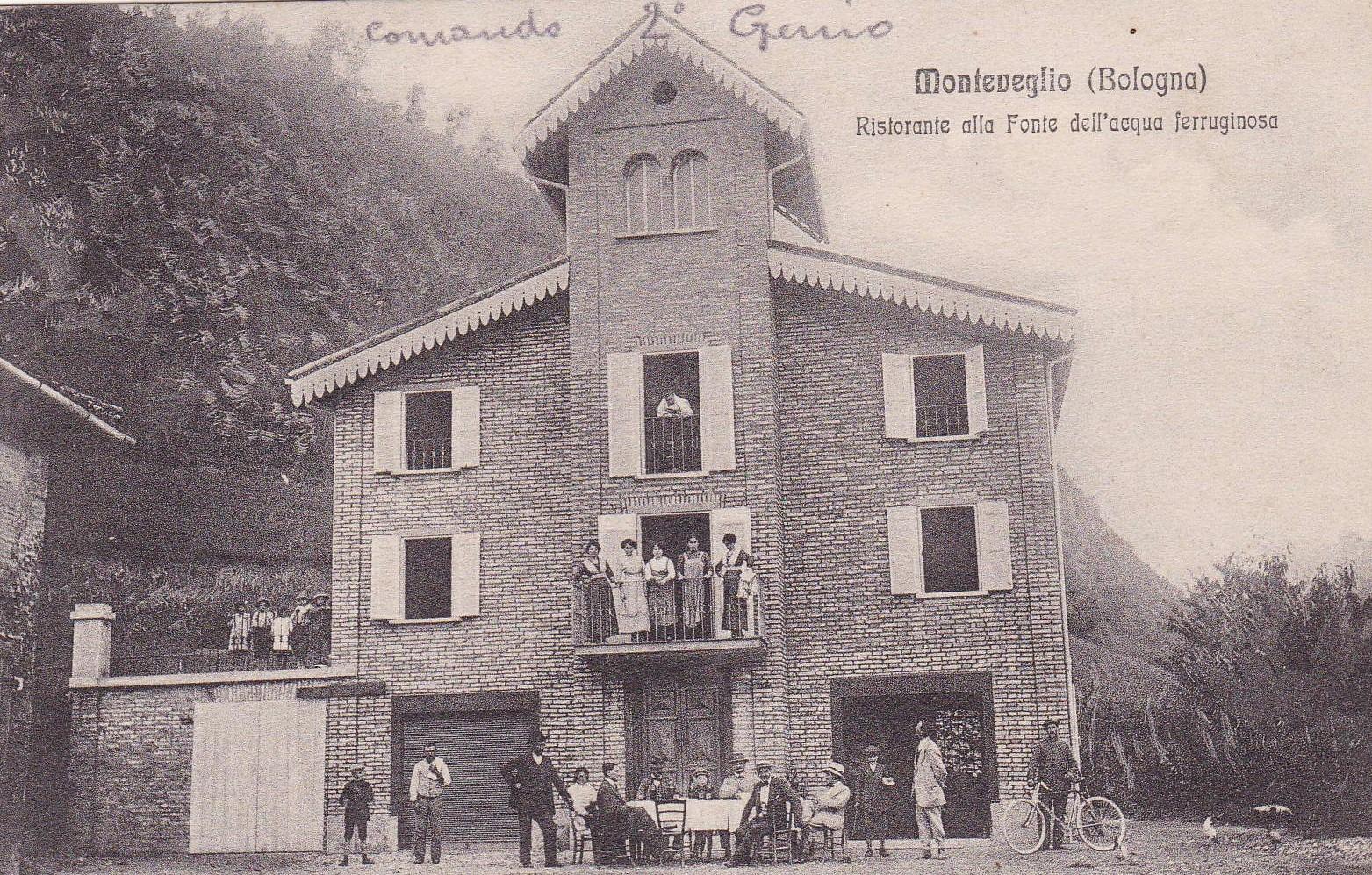 Grande Guerra a Valsamoggia: Ufficiali del Genio al ristorante alla fonte dell'acqua ferruginosa di Monteveglio