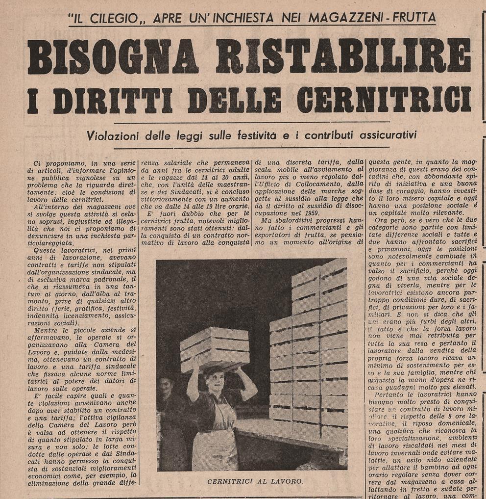 Storia di Vignola: articolo sui diritti delle cernitrici
