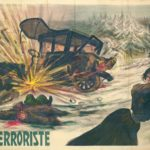Storia del terrorismo in Italia. Poster a colori del 1909-1910 che rappresenta un attentato nelle strade di Varsavia, attribuendone la responsabilità a una terrorista. Quest'immagine ha permesso di riflettere sulle modalità di rappresentazione del terrorismo nell'Europa di inizio del Novecento.