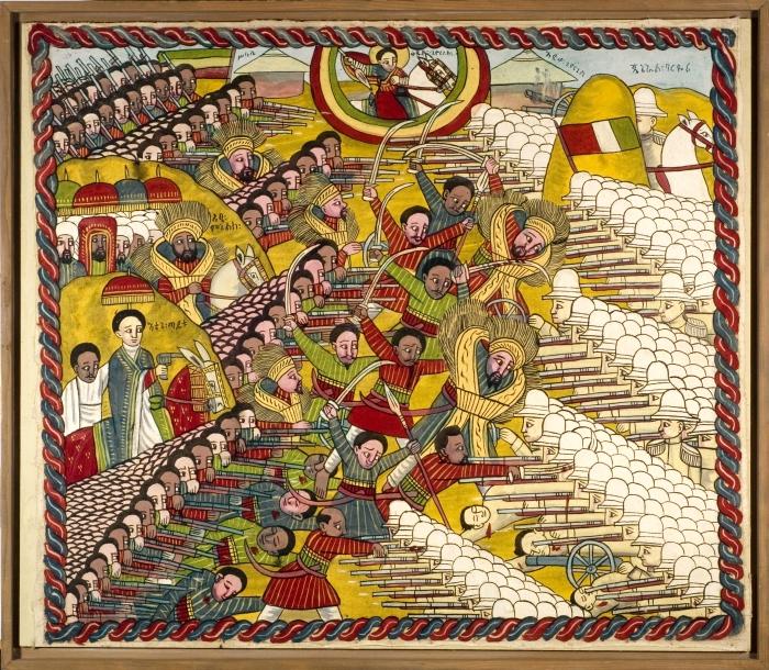 Storia della Libia. Dipinto etiope che raffigura la battaglia di Adua (1896)