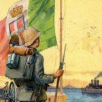 Storia della Libia: Dettaglio di una cartolina propagandistica che esalta i combattenti italiani in Libia durante la guerra italo-turca (1911-1912)