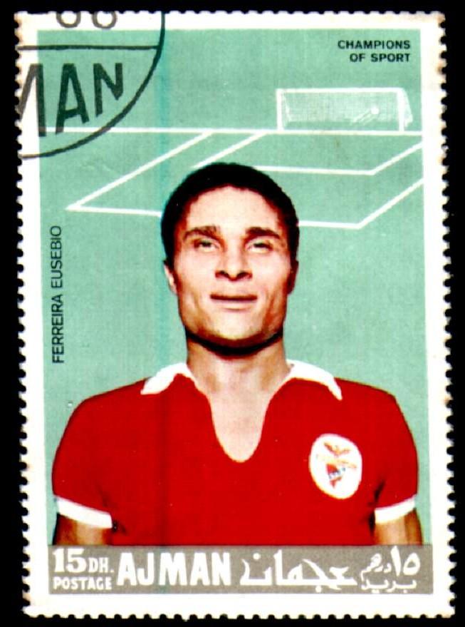 Storia del calcio portoghese. Francobollo degli Emirati arabi uniti dedicato a Eusébio