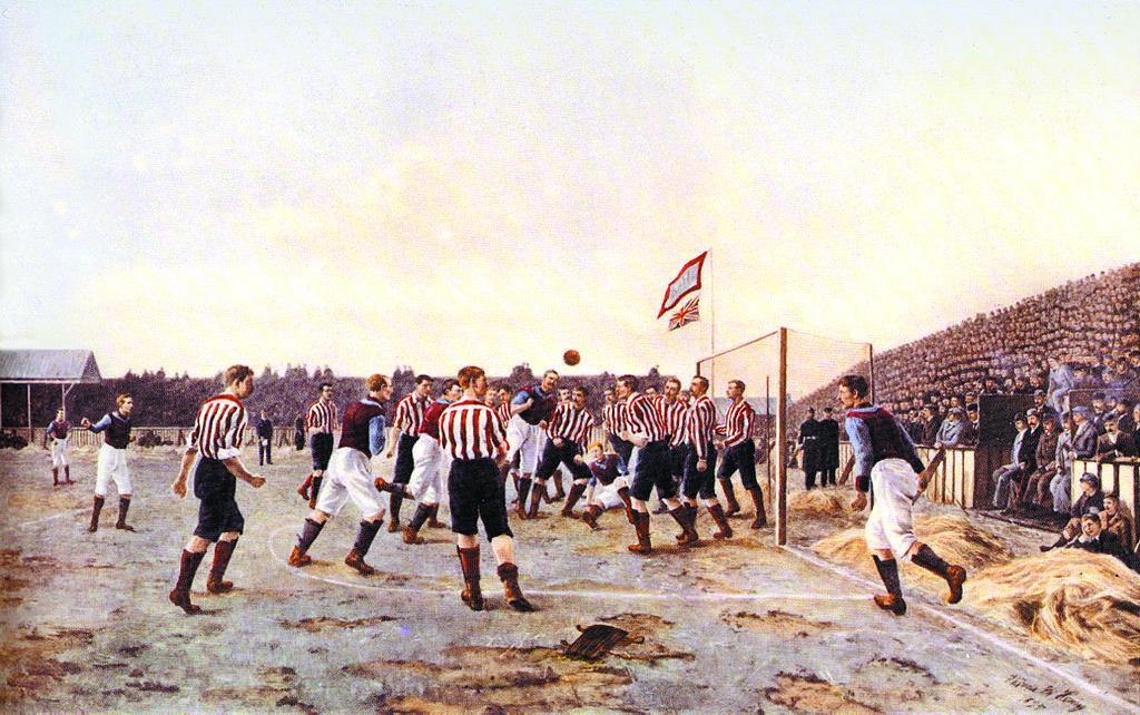 Una delle prime rappresentazioni artistiche al mondo dedicate al gioco del calcio, il dipinto Sunderland v. Aston Villa di Thomas M. M. Hemy (anche noto come A Corner Kick), 1895. Storia del calcio portoghese