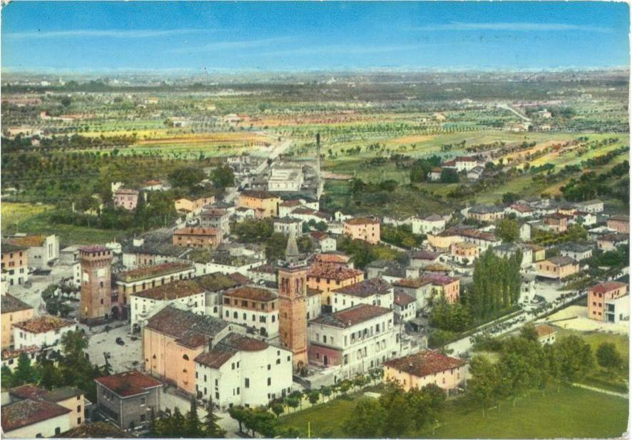 Castelnuovo Rangone e le sue campagne in un'illustrazione del secondo dopoguerra. Foto archivio Gruppo Mezaluna-Mario Menabue. Storia della Costituzione
