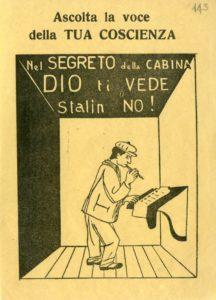 """18 aprile 1948. Vignetta di Giovanni Guareschi, pubblicata sul settimanale anticomunista Candido. Questa """"trovata"""" sarebbe poi stata resa celebre dalla citazione nel film Don Camillo e l'onorevole Peppone, adattamento cinematografico del romanzo di Guareschi."""