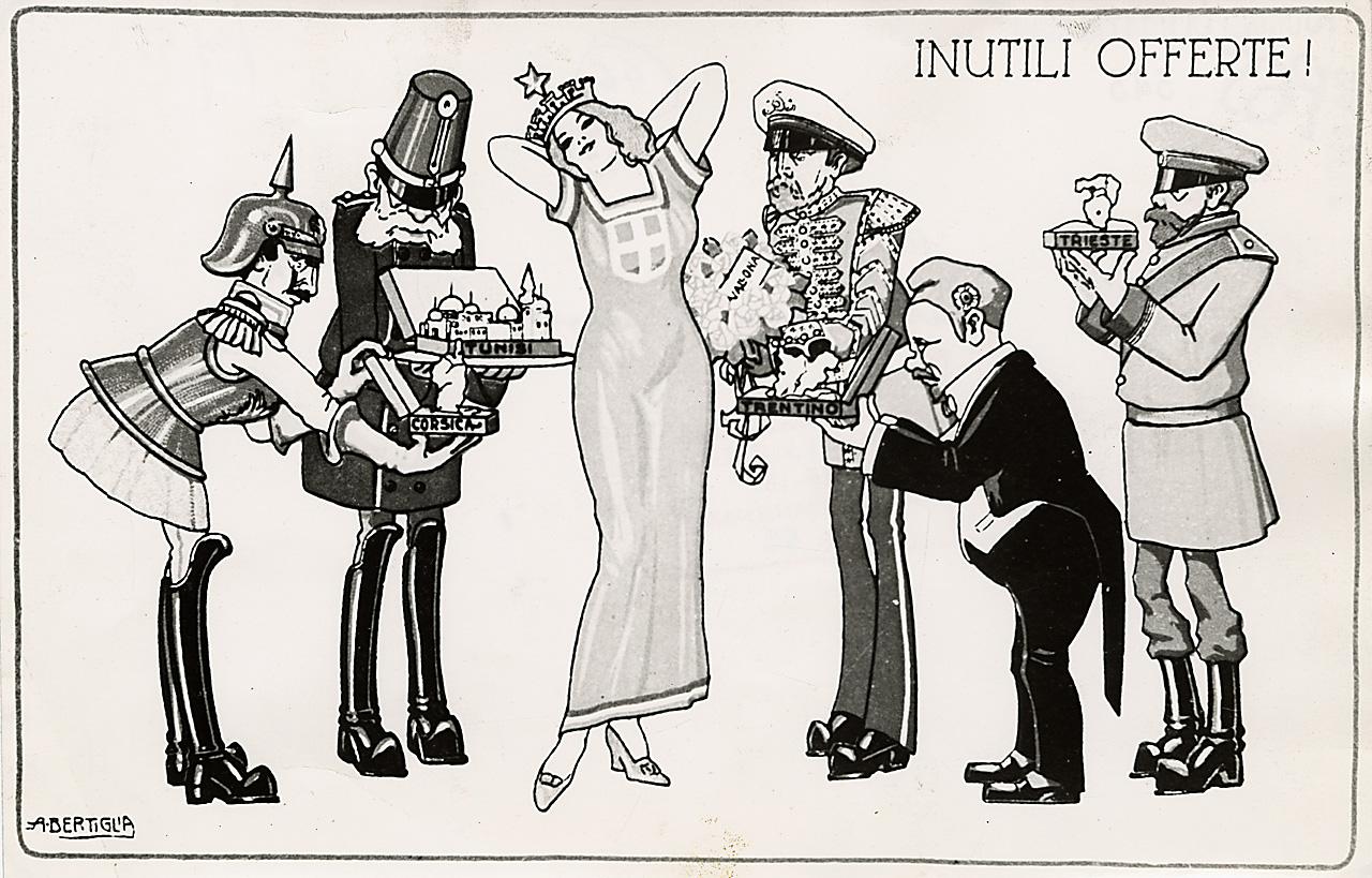 grande guerra e fascismo. Vignetta satirica di A. Bertiglia sulla neutralità italiana