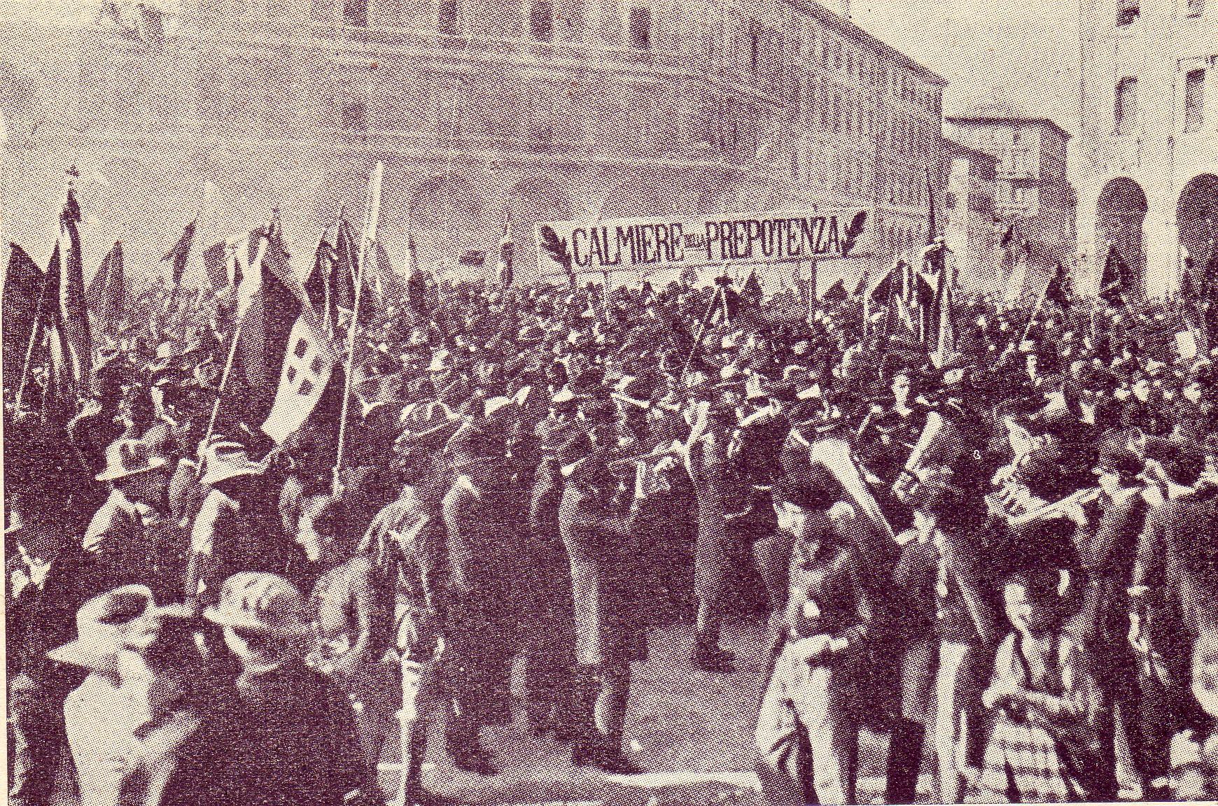 Fine della Prima guerra mondiale. Manifestazione dei Fasci di combattimento a Bologna nel 1921. Foto via Wikimedia Commons