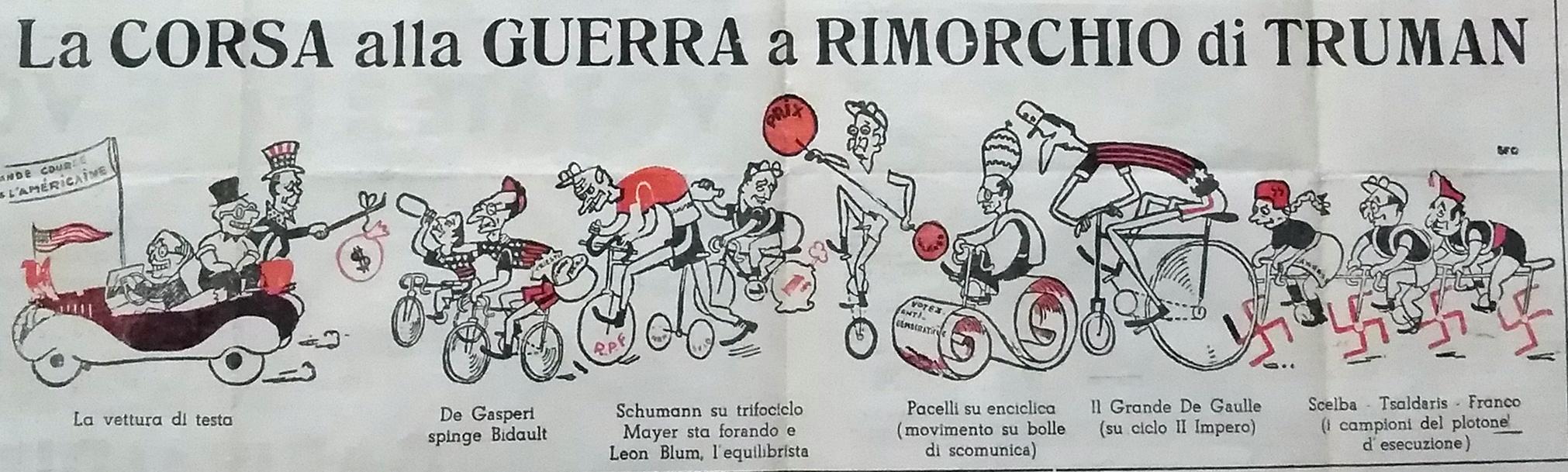 """Elezioni del 1948 a Modena. Vignetta pubblicata su """"La verità"""", settimanale della Federazione modenese del PCI."""