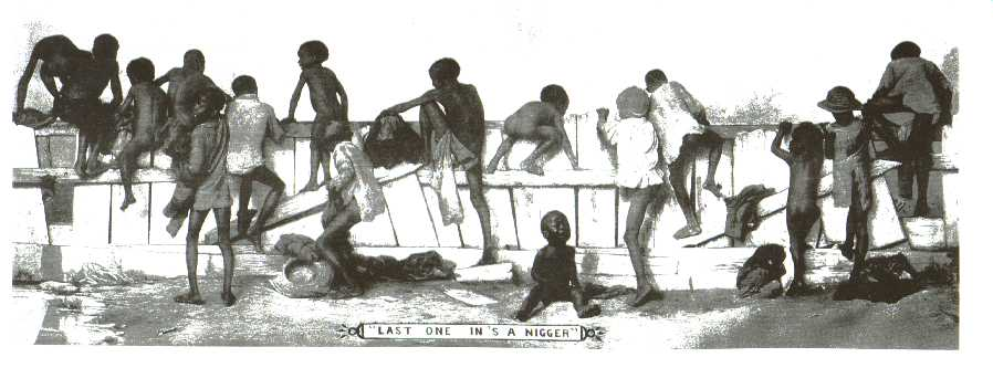 1890 circa. Vignetta statunitense a sfondo razzista, costruita per schernire gli afroamericani. Immagine via Wikimedia commons