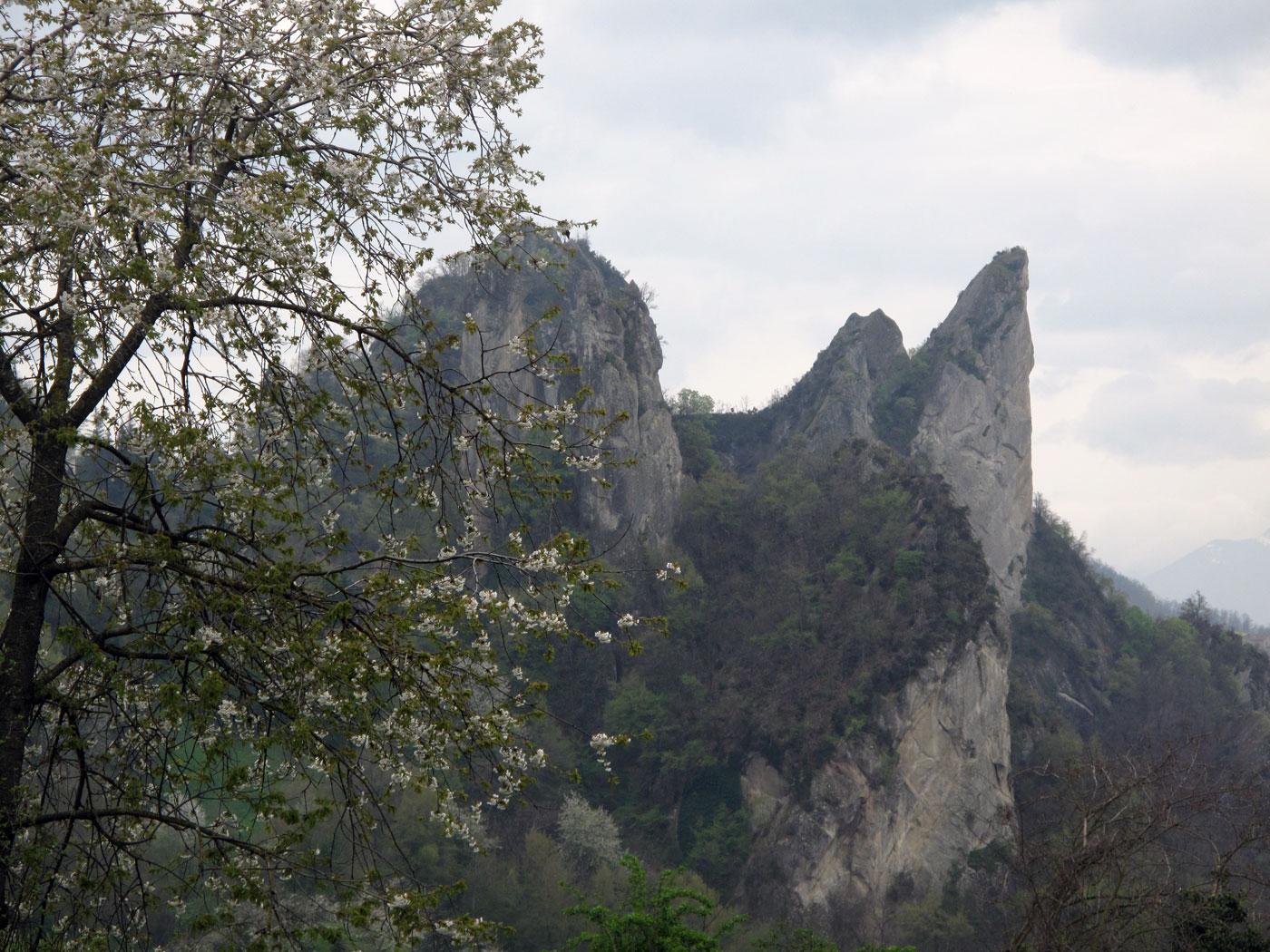 I sassi di Roccamalatina visti dalla zona di Pieve di Trebbio. Battaglia di Pieve di Trebbio