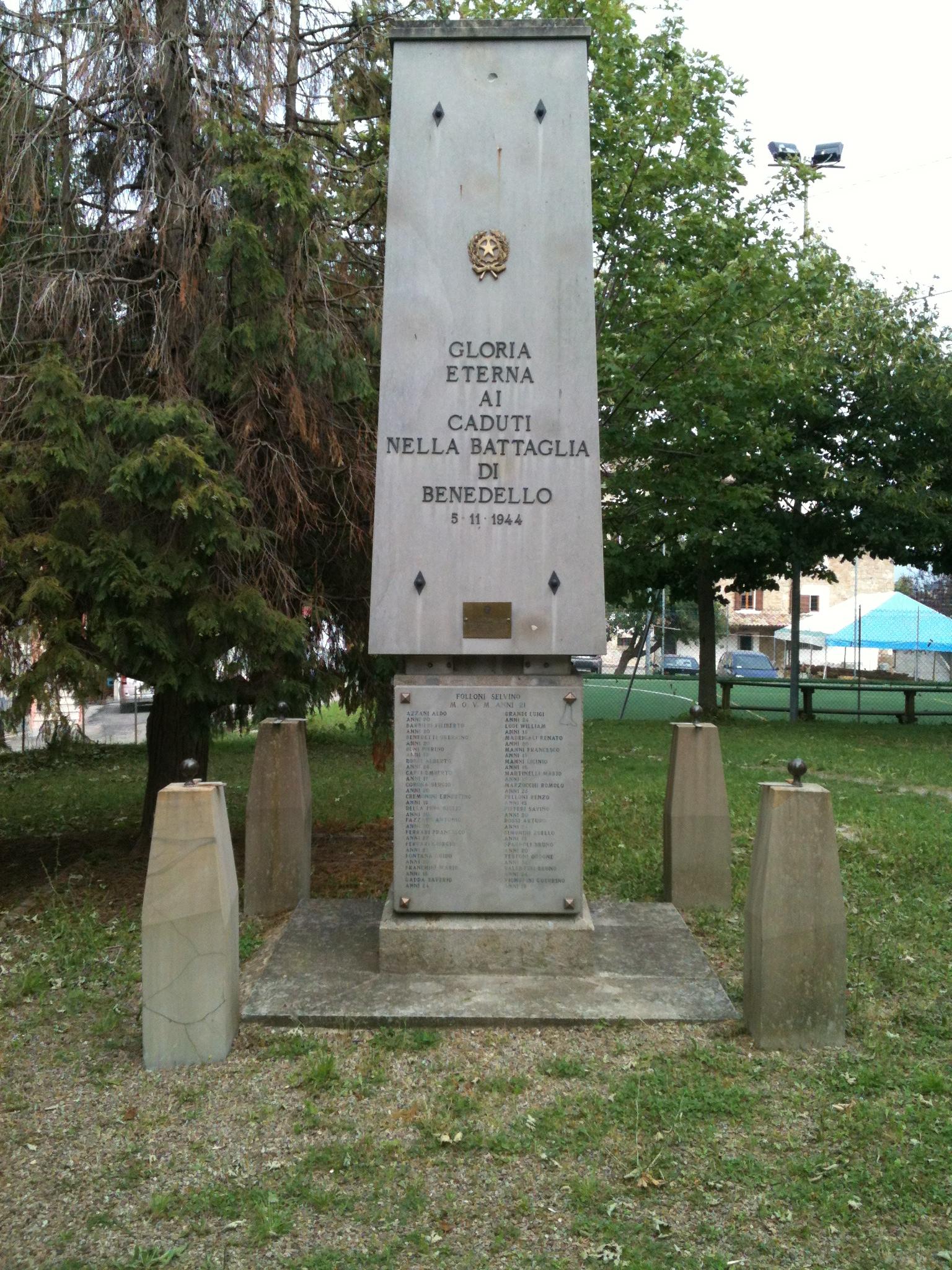 Il monumento dedicato alla battaglia di Benedello
