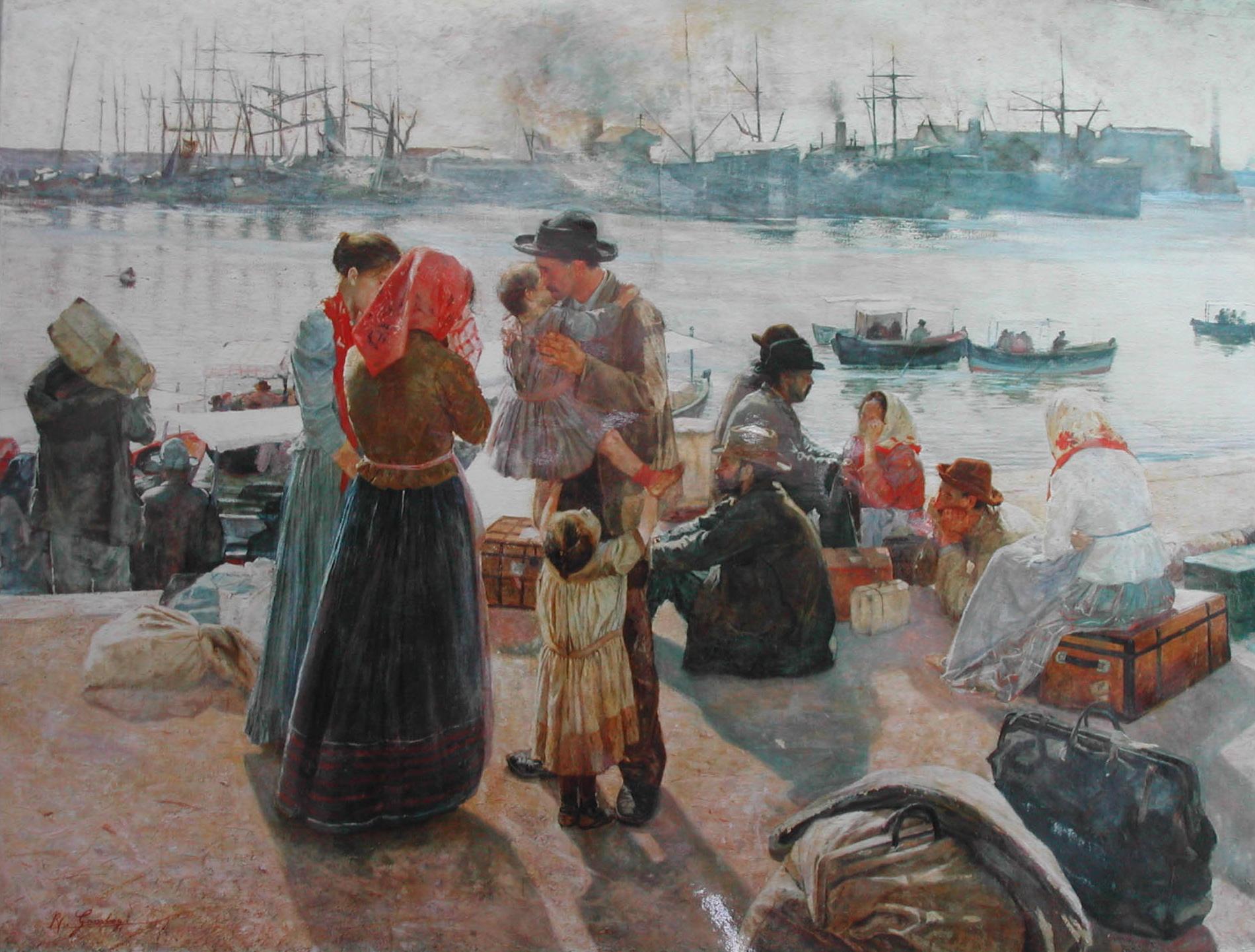 """Raffaello Gambogi, Gli emigranti, olio su tela, 1894 - trekking storico """"I primi passi di Armando"""""""