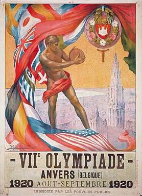 Manifesto dei Giochi Olimpici di Anversa 1920. Immagine tratta da Wikimedia Commons