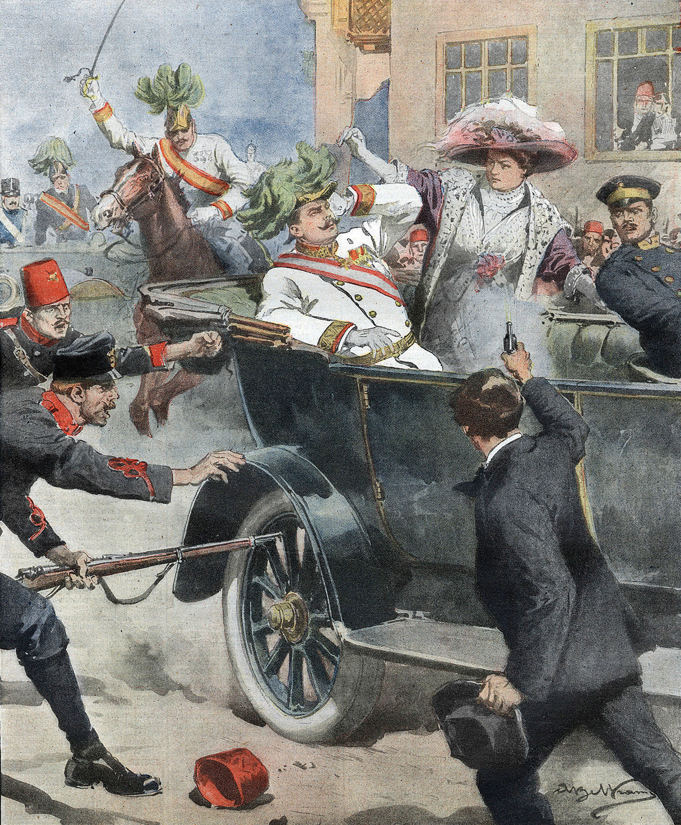 L'assassinio di Francesco Ferdinando sulla copertina della Domenica del Corriere, Anno XVI n. 27 del 5-12.7.1914, illustrata da Achille Beltrame