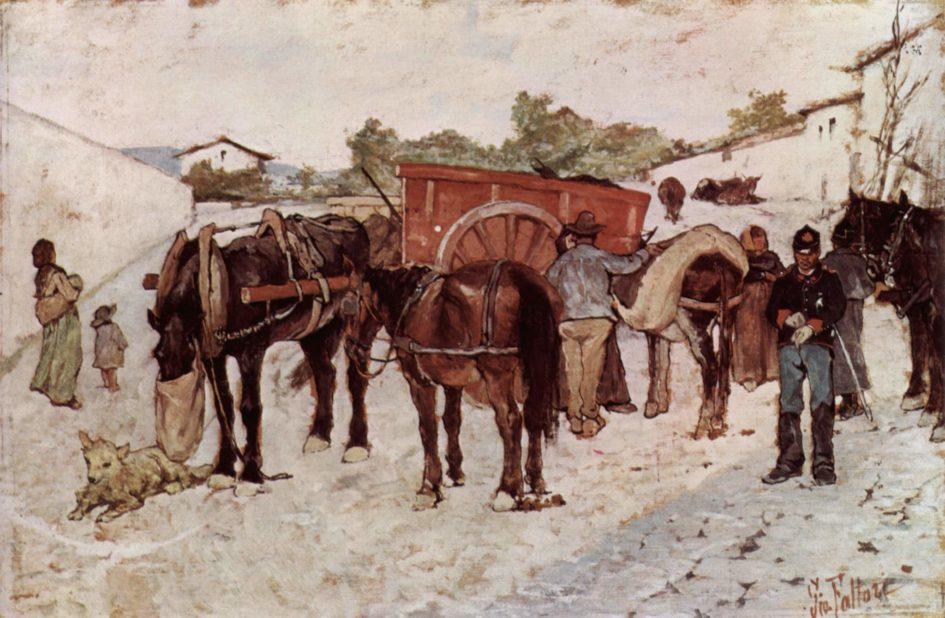Giovanni Fattori, Strada di campagna con i contadini e soldati, 1880-1890 - quando si dormiva con la porta aperta
