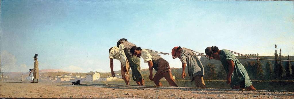 Telemaco Signorini, L'alzaia, 1864. Nel dipinto si notano alcuni braccianti che trascinano una chiatta lungo l'argine dell'Arno, mentre un uomo e una bambina dell'alta borghesia restano girati dall'altra parte, completamente indifferenti - quando si dormiva con la porta aperta