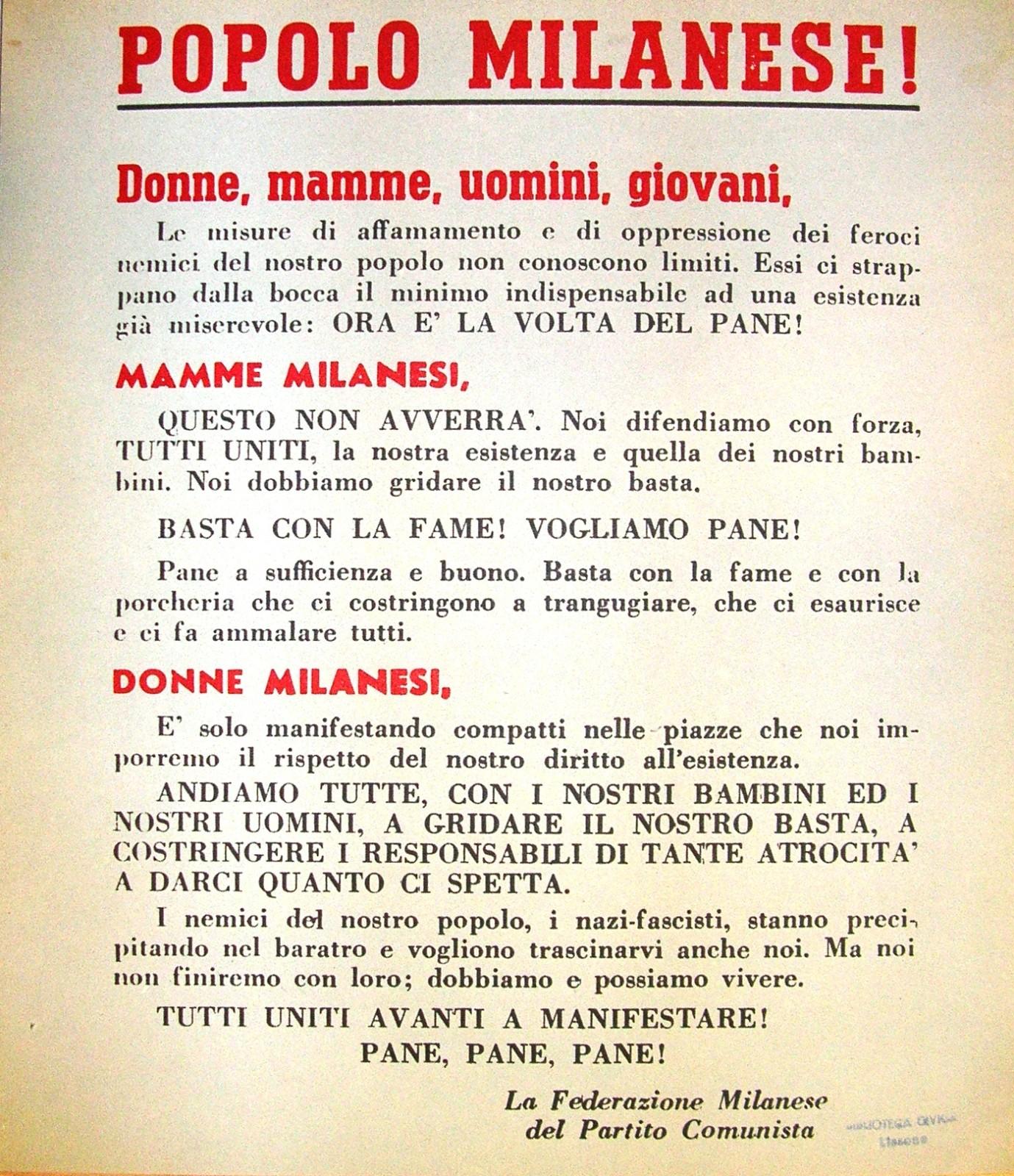Manifesto clandestino della Federazione comunista milanese che chiama il popolo - e in particolare le donne - a manifestare per avere pane e pace - contro la guerra