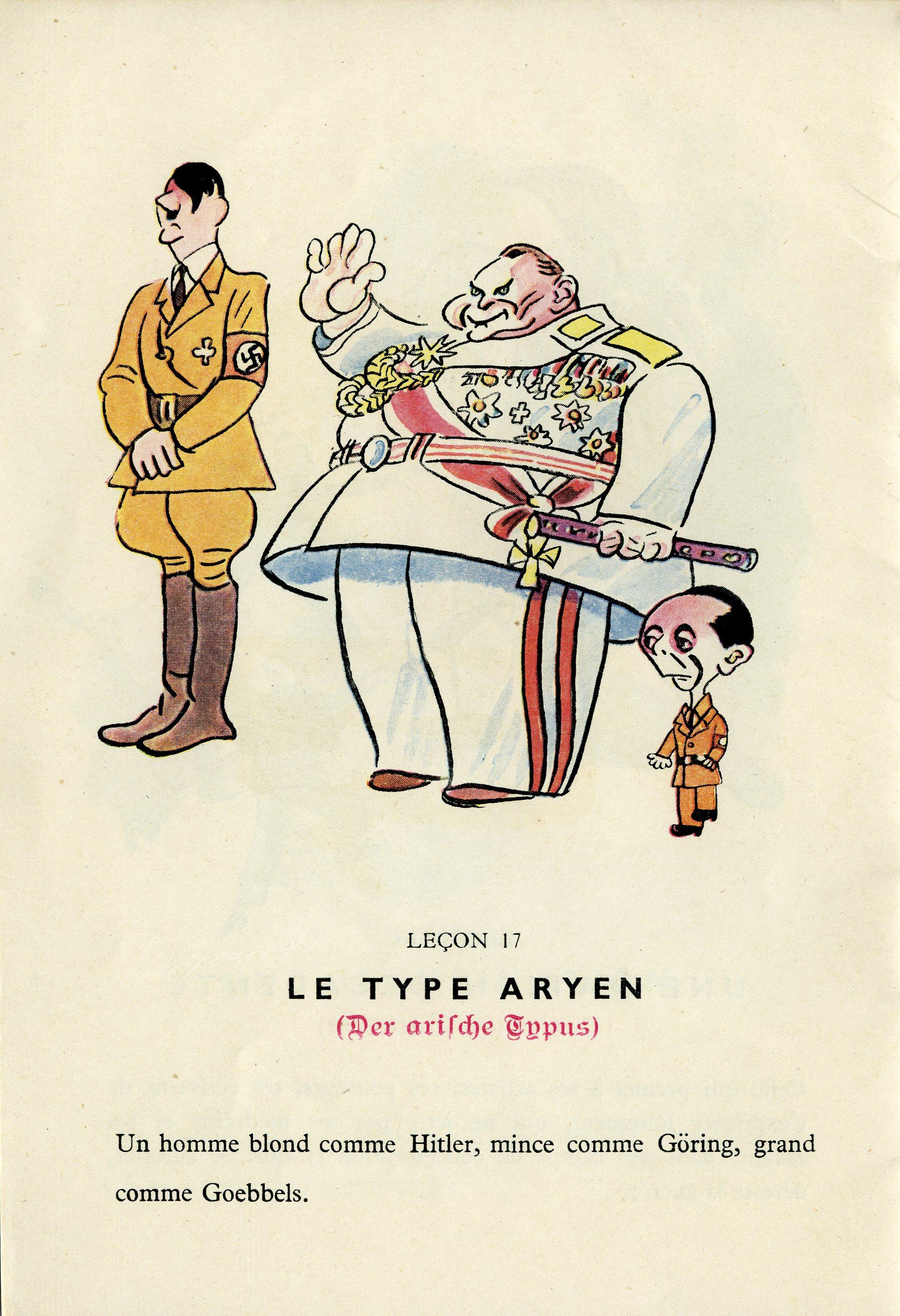 """Vignetta francese, realizzata per contestare la politica razziale del nazismo. Il """"tipo ariano"""" sarebbe infatti """"un uomo biondo come Hitler, magro come Goering e alto come Goebbels"""" - didattica Giorno della Memoria"""