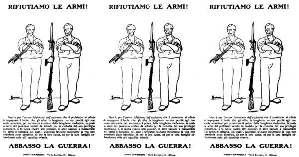 Volantino socialista, che invita il proletariato a opporsi alla guerra, espressione degli interessi borghesi
