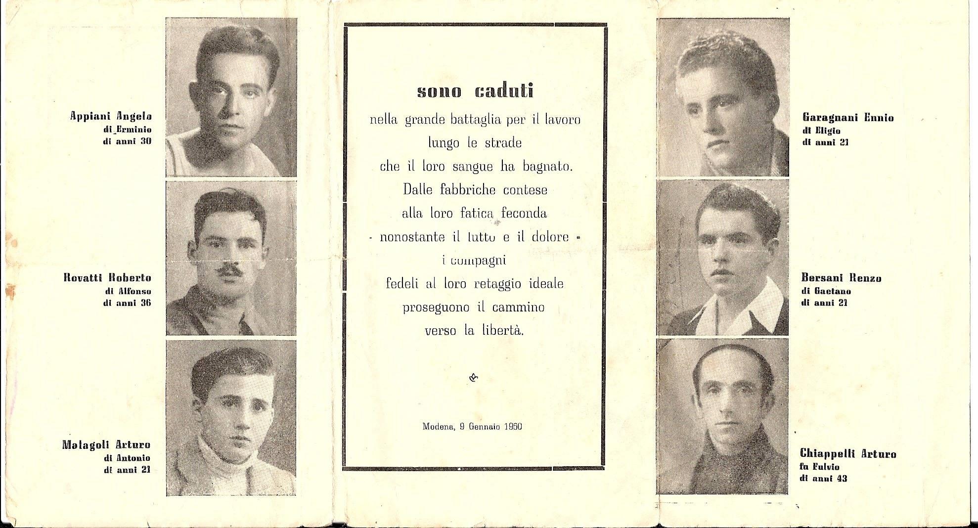Ricordo dei sei manifestanti uccisi il 9 gennaio 1950 a Modena, nella zona delle Fonderie Riunite. Foto via Wikimedia Commons