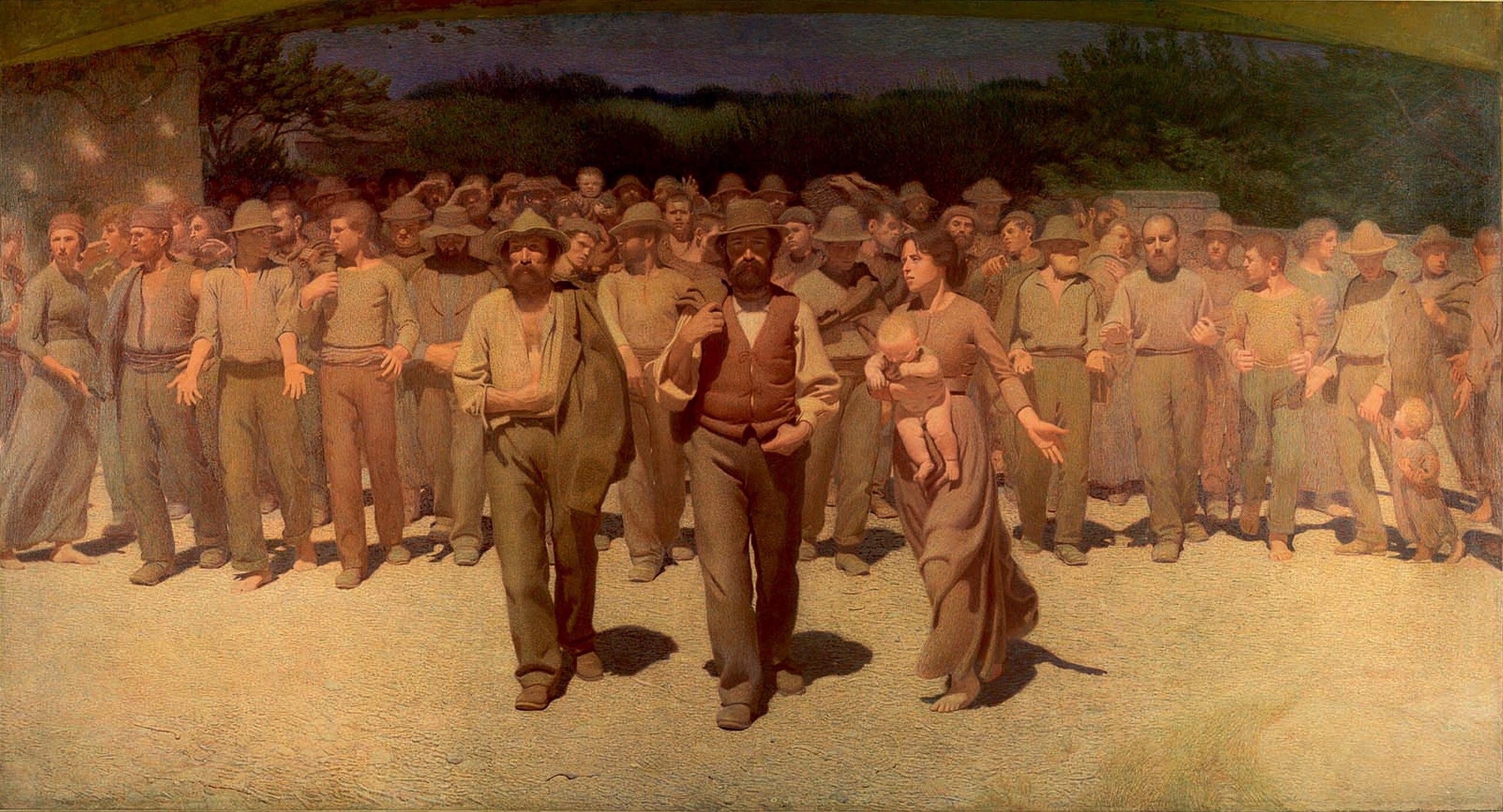 """Il dipinto """"Il Quarto Stato"""", realizzato nel 1901 dal pittore Giuseppe Pellizza Da Volpedo, rappresenta i lavoratori più umili, tormentati dallo sfruttamento e dai problemi della povertà"""