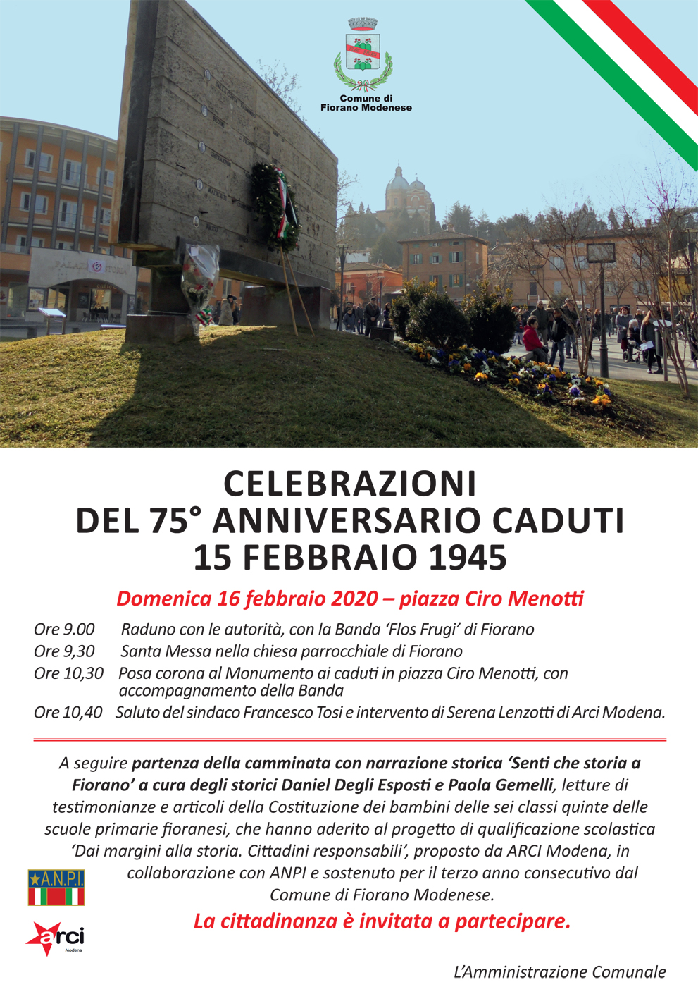 Fiorano modenese piazza Ciro Menotti: celebrazioni dell'anniversario dei caduti del 15 febbraio 1945