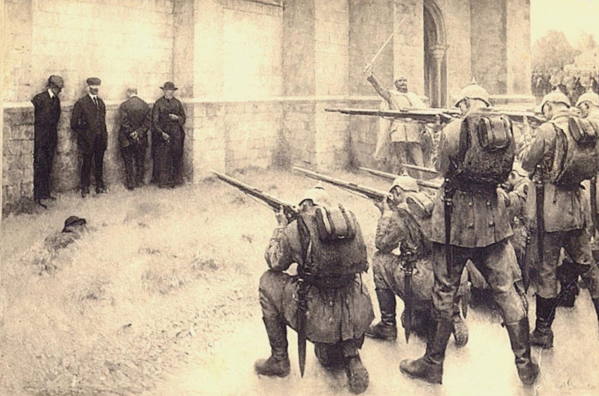 Évariste Carpentier raffigurante la fucilazione di civili belgi ad opera dei tedeschi a Blegny