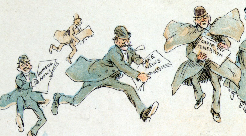 Vignetta satirica di fine '800 sulle fake news.