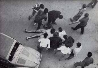 Il corpo di Lauro Ferioli nel pomeriggio del 7 luglio 1960