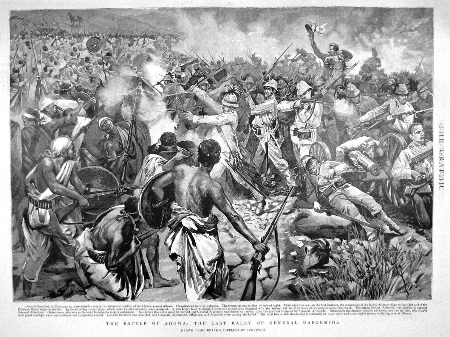 Rappresentazione britannica della battaglia di Adua, realizzata a partire dai racconti di alcuni sopravvissuti
