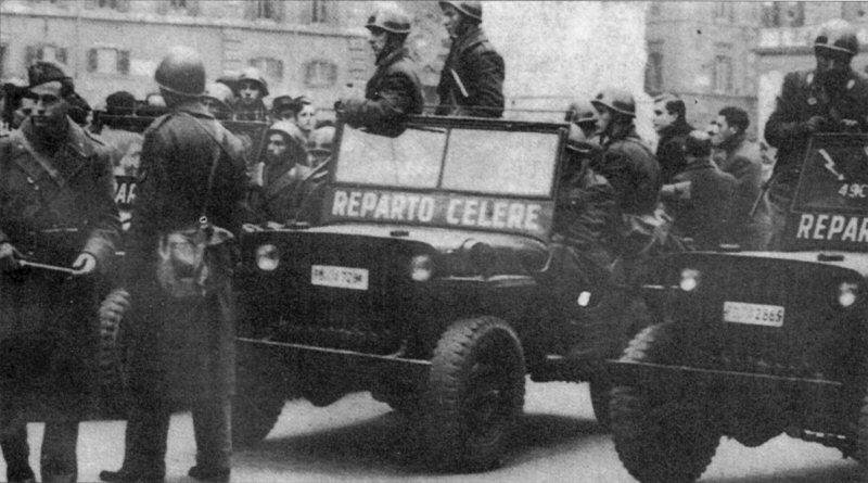 Reparto Celere della Polizia di Stato. Queste unità si rendono protagoniste di diverse azioni repressive nei confronti dei lavoratori in sciopero