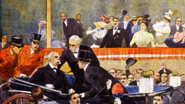Illustrazione dell'attentato a Umberto I, realizzata da Achille Beltrame e pubblicata sulla Domenica del Corriere. Immagine tratta da Wikimedia Commons