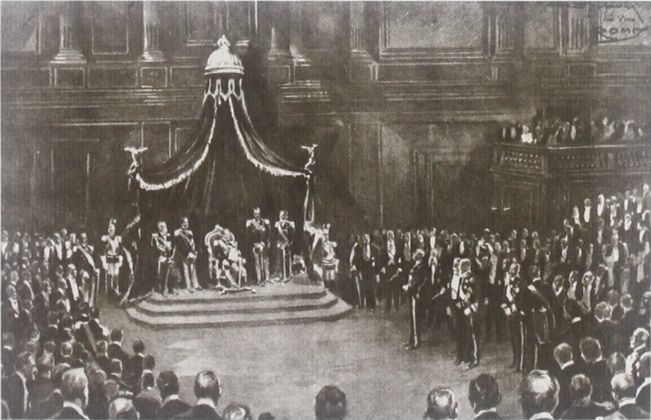 Vittorio Emanuele III inaugura la XXIV legislatura del Regno d'Italia (1913-1919). Immagine via Wikimedia Commons - Democrazia e populismo