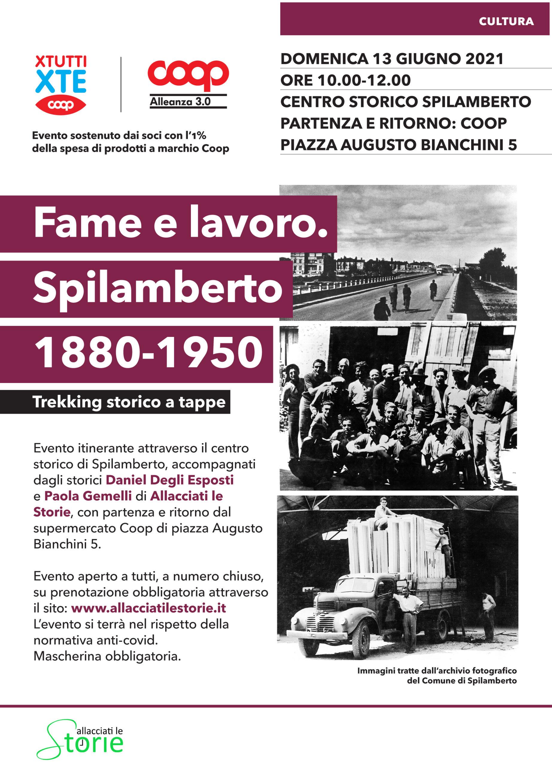 Locandina dell'evento sulla storia della cooperazione a Spilamberto