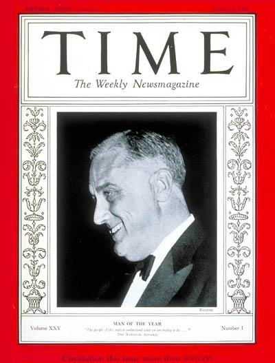 """La copertina che il settimanale """"Time"""" dedica a Franklin Delano Roosevelt nel 1935 per i tentativi di risposta alla Grande Depressione"""