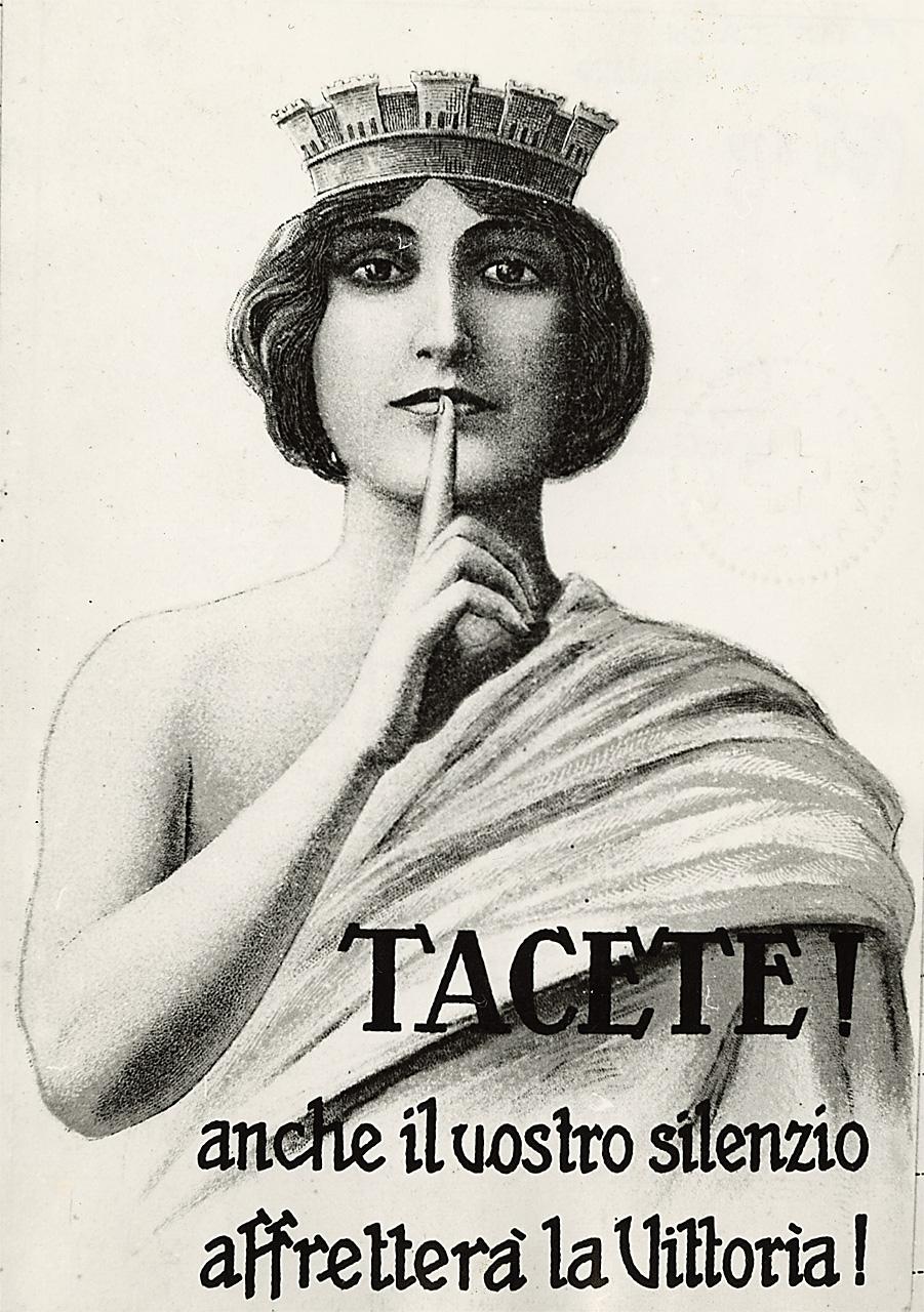 Manifesto italiano di propaganda, che incita i cittadini a mantenere il silenzio, inducendoli al sospetto nei confronti degli altri - Caporetto