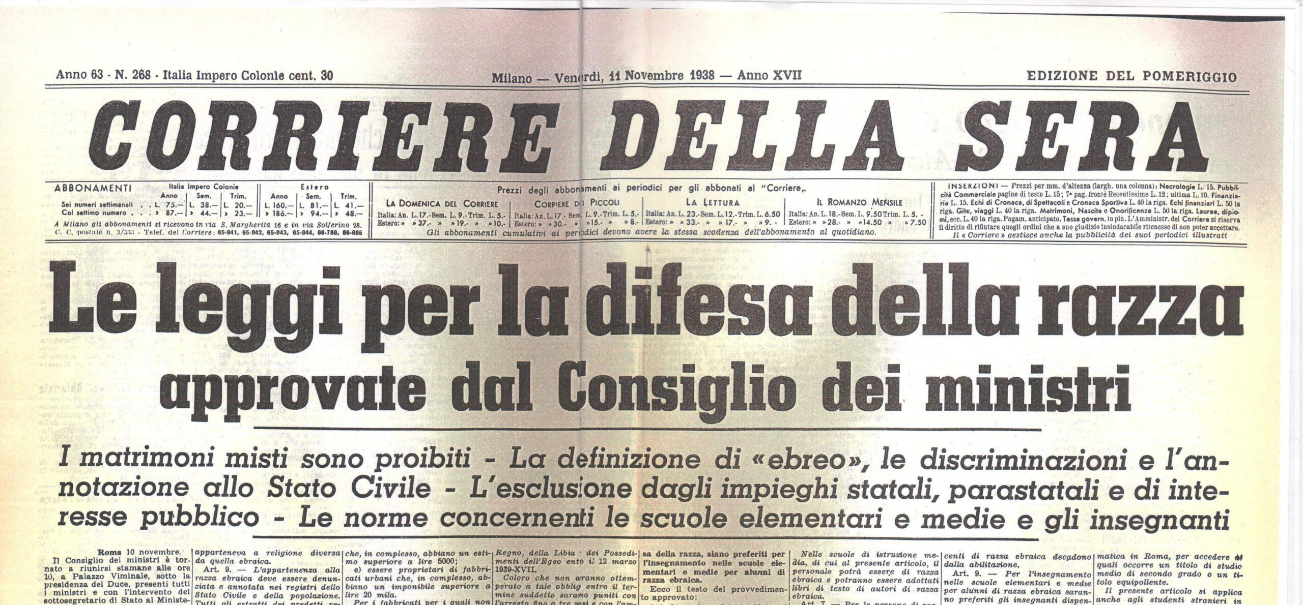 Leggi razziali in Italia: Corriere della Sera