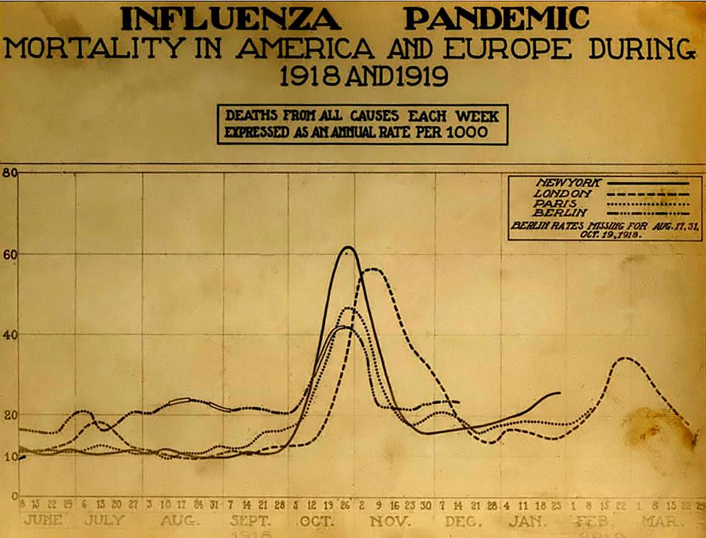 L'andamento della pandemia di influenza spagnola nel mondo
