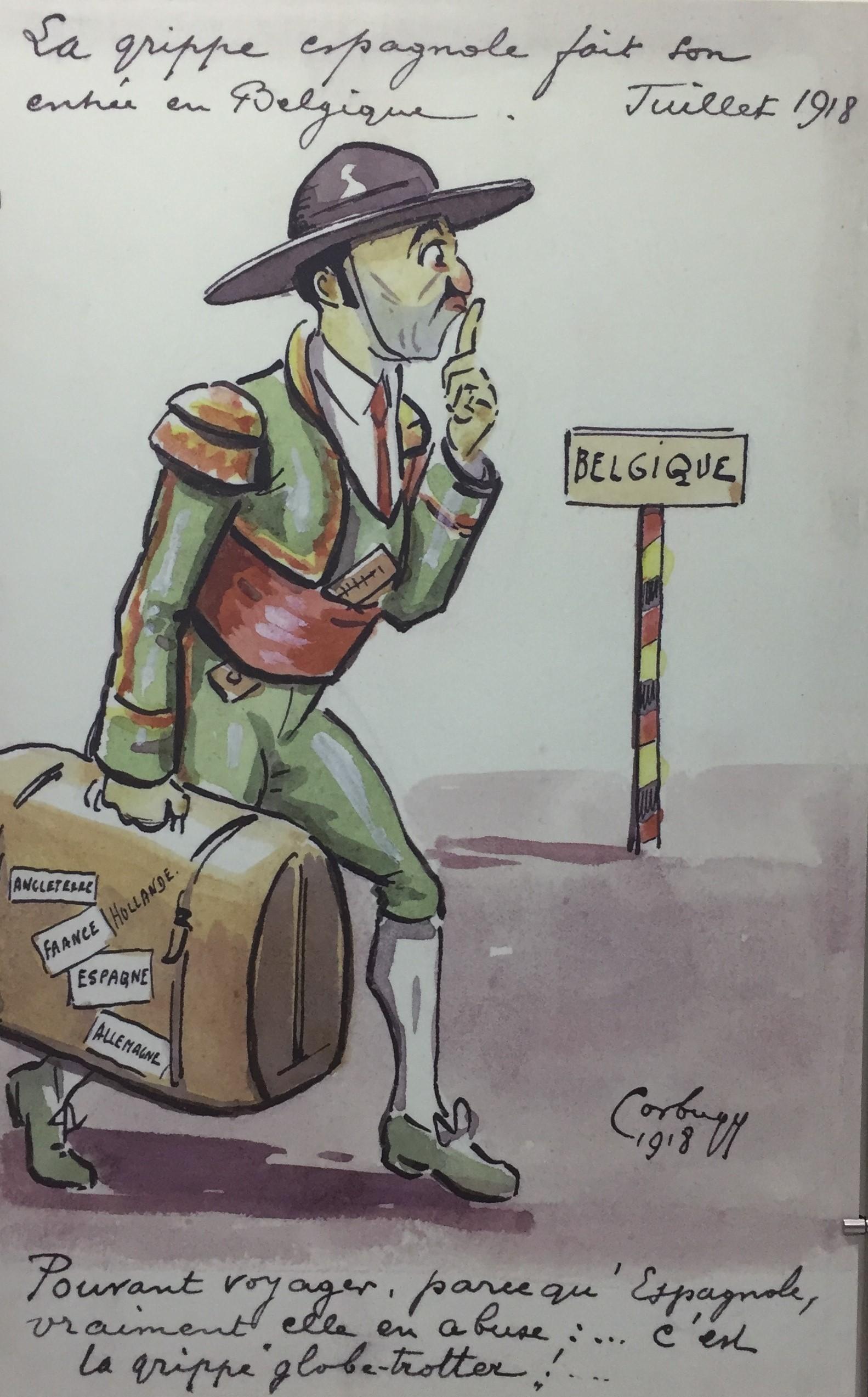 Caricatura belga che illustra l'arrivo della pandemia di influenza spagnola nel luglio del 1918